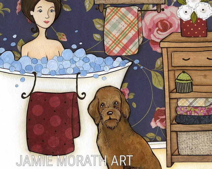 Get Naked, your dogs don't judge you, lady taking bubble bath with labradoodle, goldendoodle, navy pink flower wallpaper, dog bathroom art