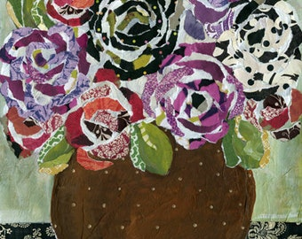 Pattern Roses, mixed media flower art