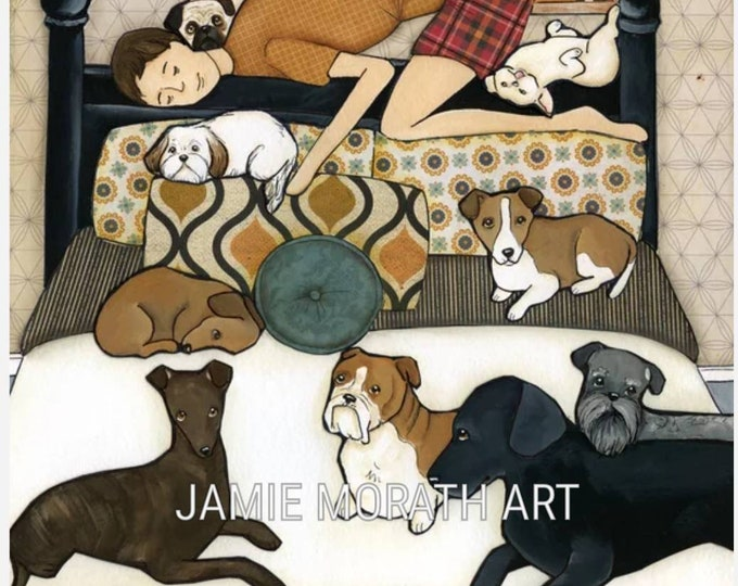 Our Hero, fathers day gift, perfect dog dad gifts, man sleeping on head board with lots of dogs on bed, mens plaid boxers, bachelor room