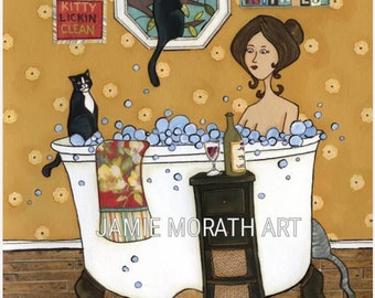 Wash Your Kitties, funny bathroom cat wall art print, bubble bath and wine, cat lady bathroom home decor, funny cat ornament, Christmas