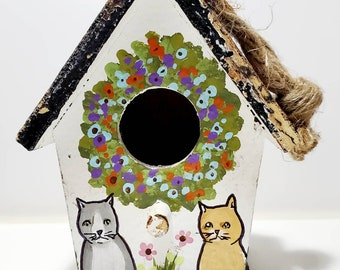 Cat Birdhouse Original handpainted
