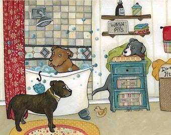 Wash Your Pits, wall art pitbull