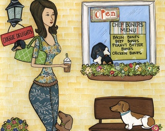 Wiener Cafe, dog art print