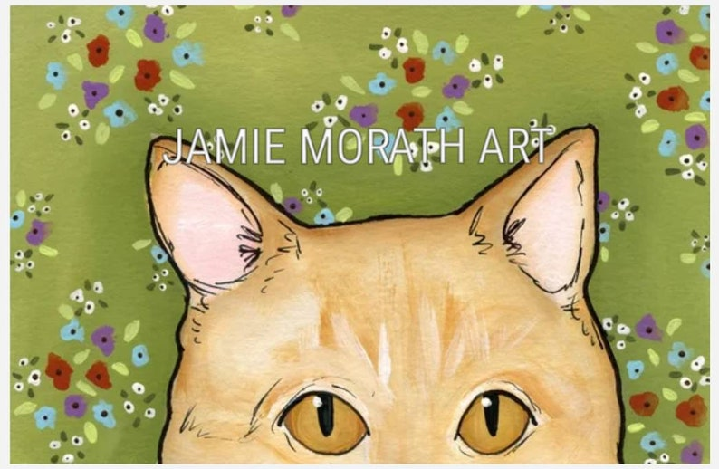 You/'re Being Watched orange tabby with yellow eye orange tabby cat peeking over the edge with green background with flower pattern green