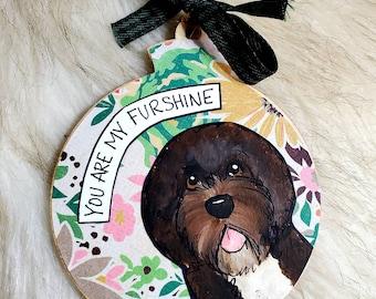 Waterdog, handpainted dog ornament
