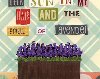 Happiness is, lavender art print