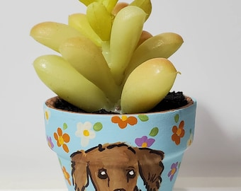 Weenie planter with artificial succulent