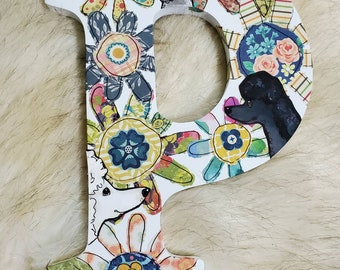 Wooden Letter P with Poodles and flowers