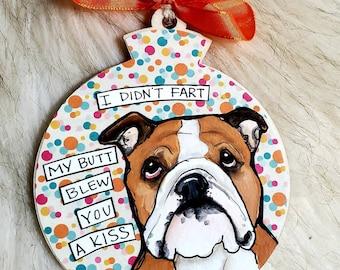 English Bulldog, handpainted dog ornament