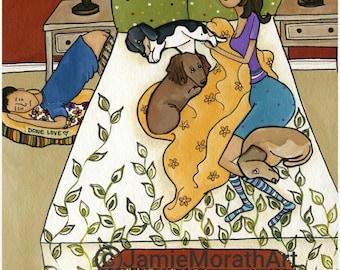 Doxie Love, dachshund dog art print