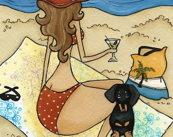Sun and Martini With a Doxie, dog art print