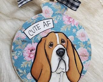 Basset Hound, handpainted dog ornament