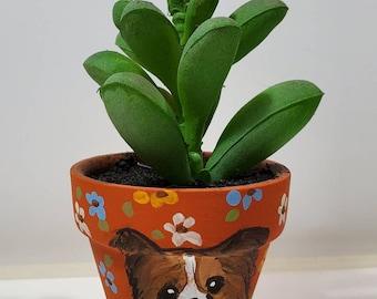 Papillion mini pot with artificial succulent
