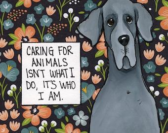 Caring, Great Dane dog art print