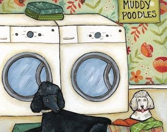 Poodle Wash, art print