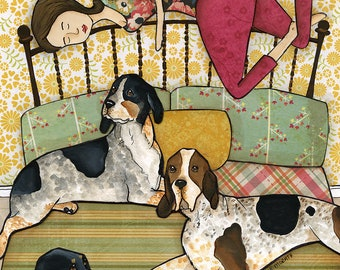 Coonhound Cuddles DISCOUNTED PRINTS