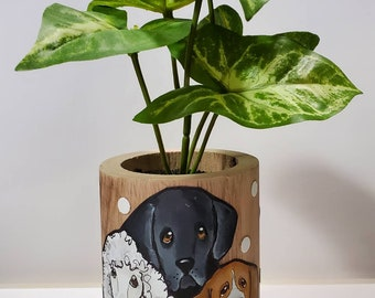 Wooden dog planter with artificial plant