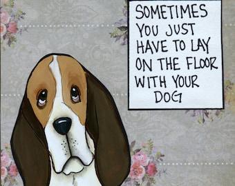 Sometimes, Basset Hound dog art print