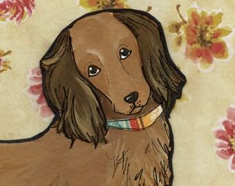 Flower Weenie, dog art print