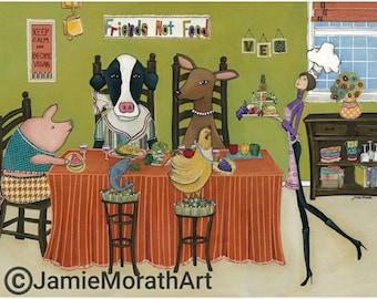Friends Not Food, Vegetarian art print