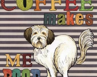 Coffee Makes, Shih Tzu art print
