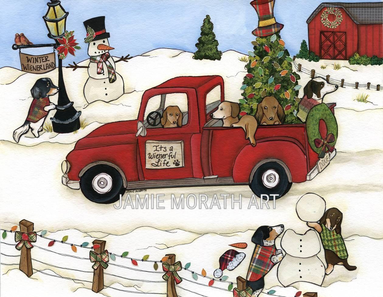 Winter Wienerland Dachshund Christmas Vintage Red