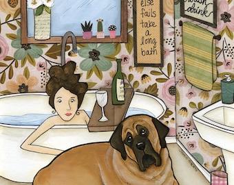 Long Bath- Original mixed media painting