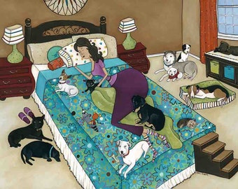 A Rescue's Dream, dog rescue art print