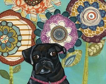 Black Pug, art print