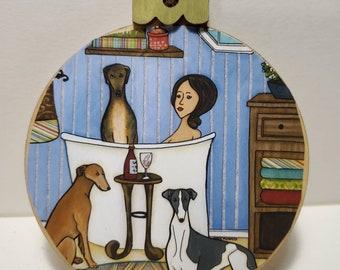 Greyhound Wash ornament