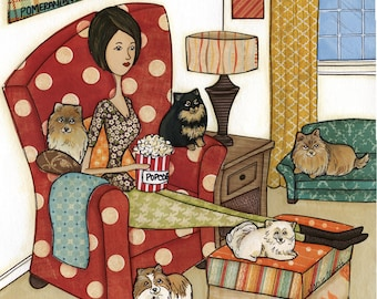 Pomeranians and Popcorn, art print