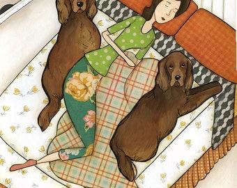 Sleeping Setter, dog wall art