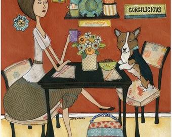 Corgilicious, Corgi dog art print