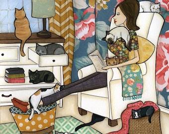 Cozy Room, cat art print