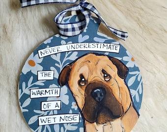 Shar pei, Mastiff, handpainted dog ornament
