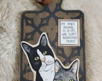 Spirit Animal Cat wood cutting board wall decor