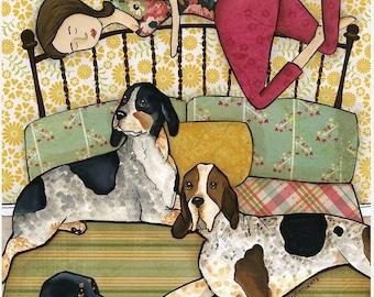 Coonhound Cuddles, dog art print
