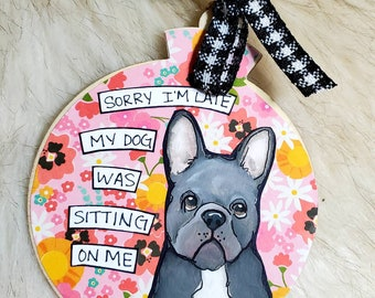 French bulldog, handpainted dog ornament