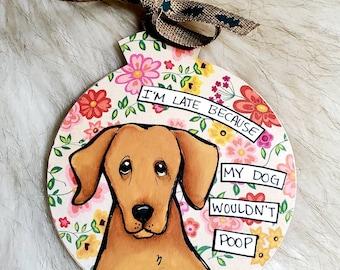 Dachshund, handpainted dog ornament