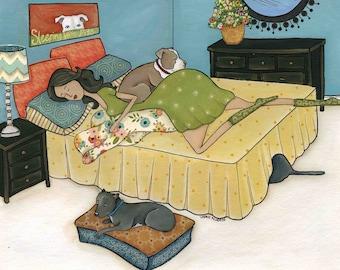 Sleeping With Pits, dog art print