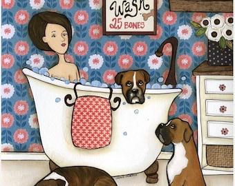 Boxer Wash, dog wall art