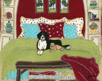 Best friends, Bernese Mountain dog and a cat