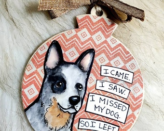 Cattle dog, handpainted dog ornament