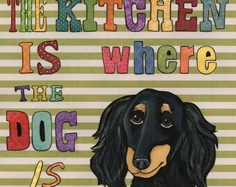 The Kitchen, dog art print