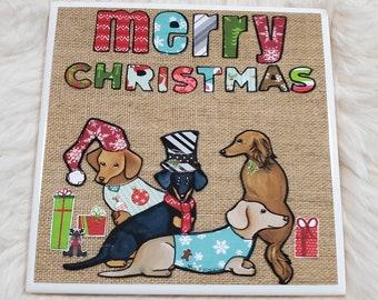 Christmas Doxies, dachshund coaster