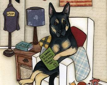 Evidence, German Shepherd dog art print