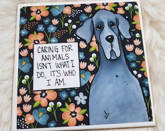 Caring coaster, Great Dane dog