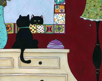 Purdy Me in the Mirror, cat art print