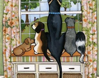 Doggie Watch- original mixed media painting