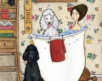Washin Poodles, art print